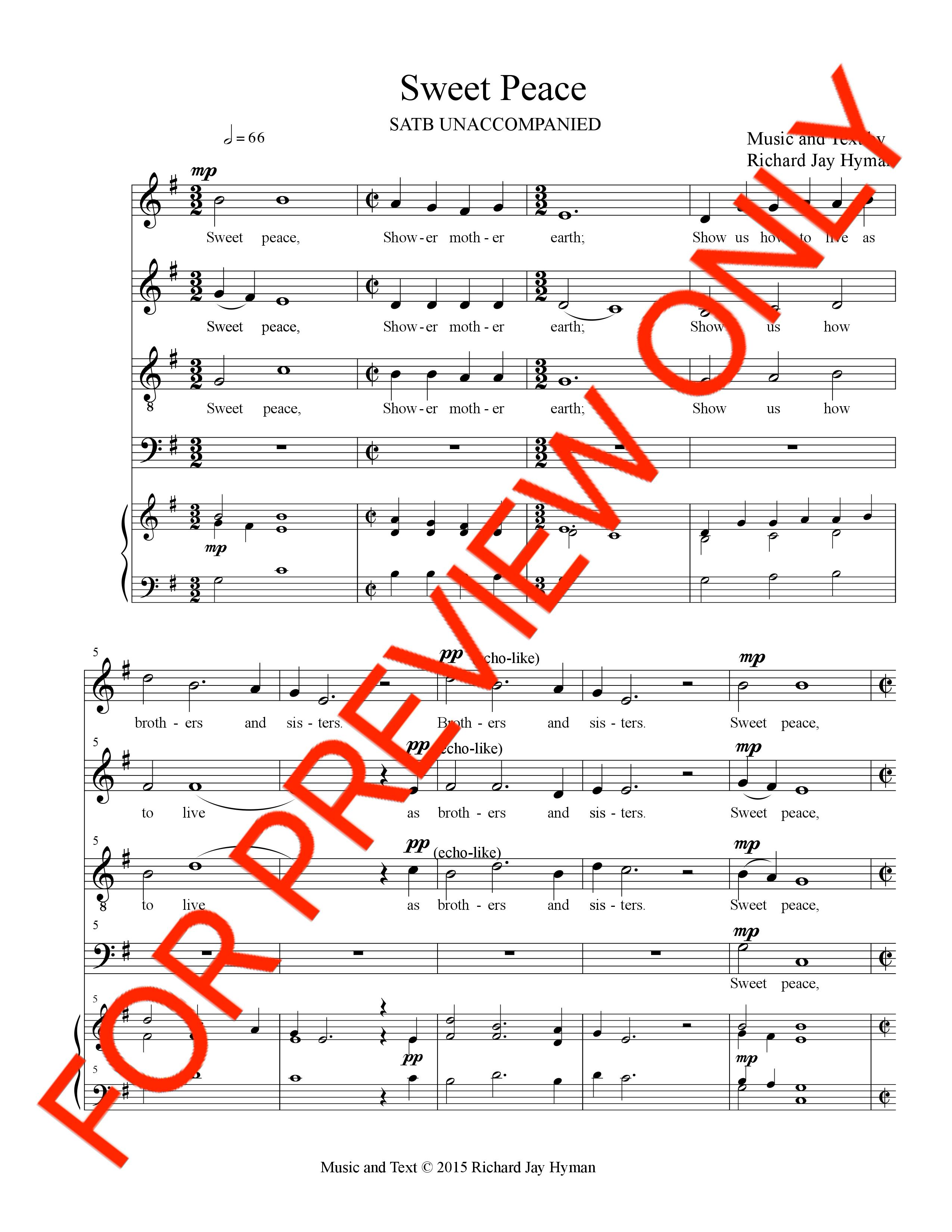 instant download, sweet peace, satb, choral music