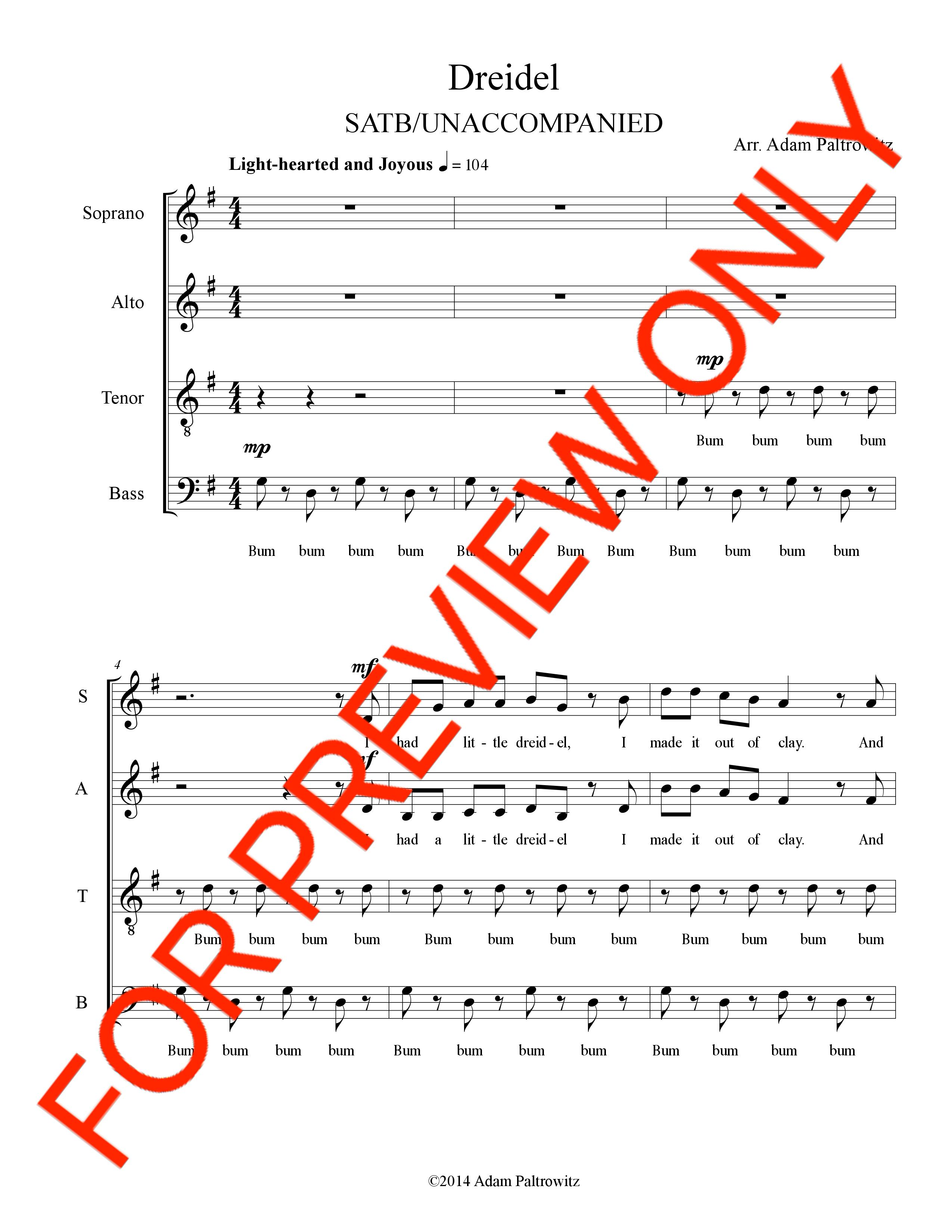 Dreidel Arr Adam Paltrowitz A Fun Song For Hanukkah