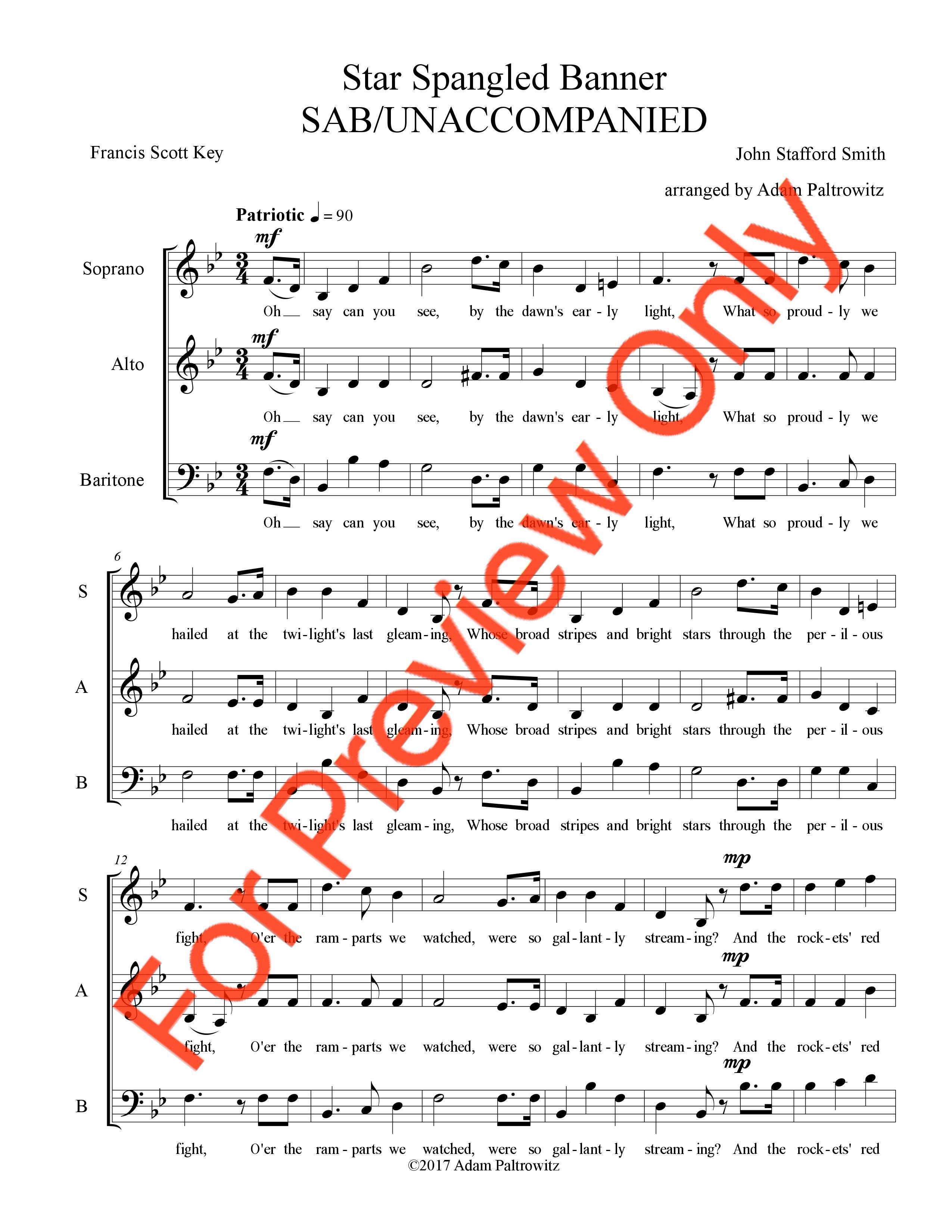 Star-Spangled Banner (SAB - Unaccompanied) - Choral Clarity