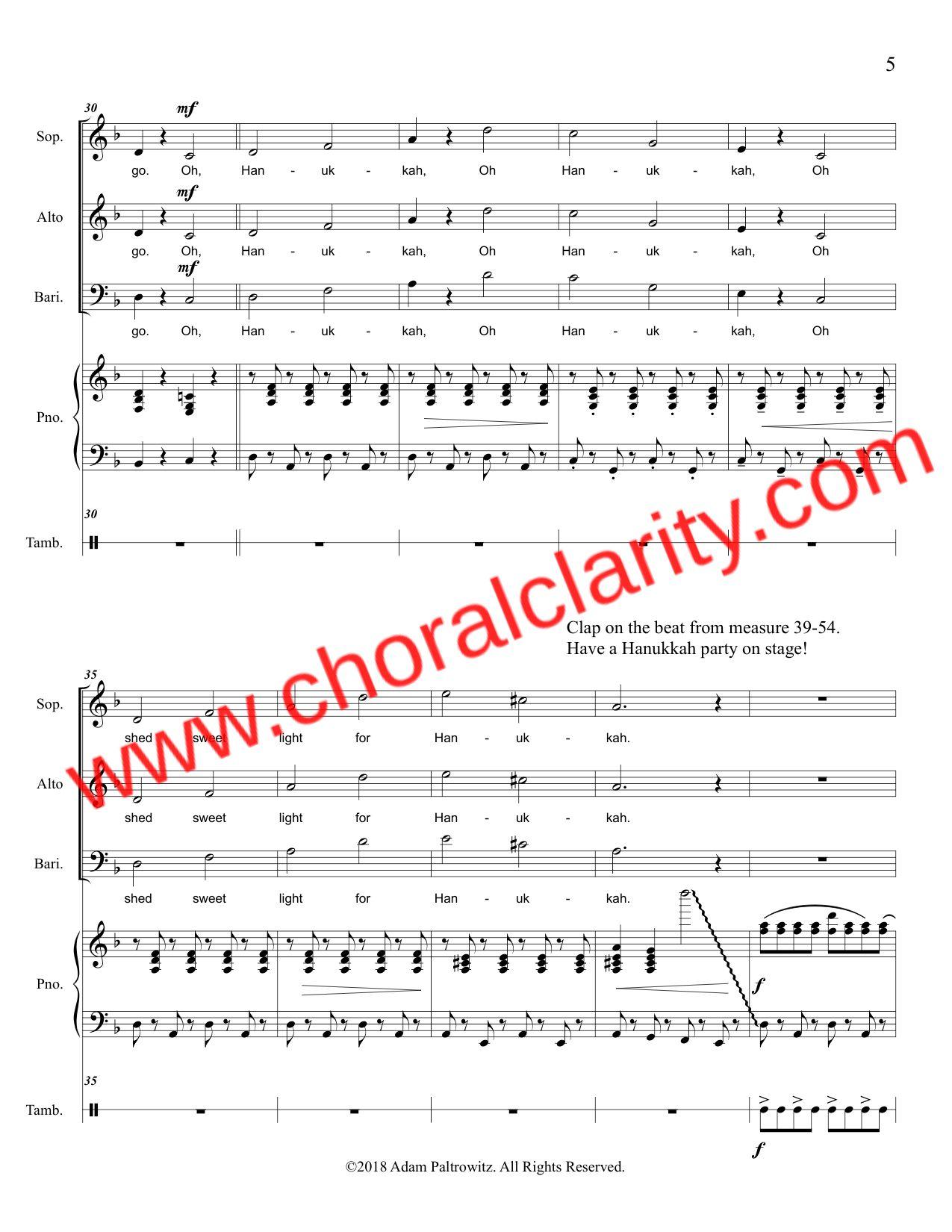 Choral Clarity WatermarkOh Hanukkah SAB-5