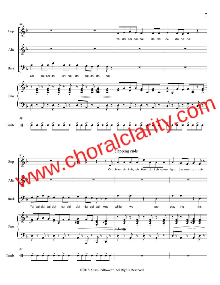 Choral Clarity WatermarkOh Hanukkah SAB-7