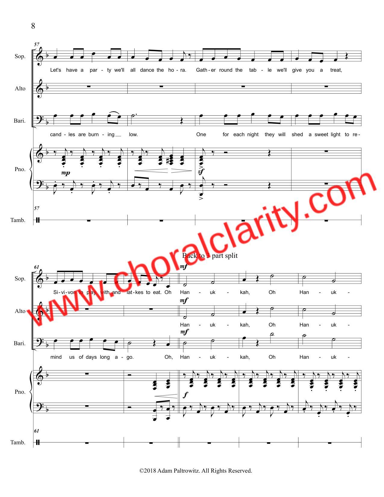 Choral Clarity WatermarkOh Hanukkah SAB-8