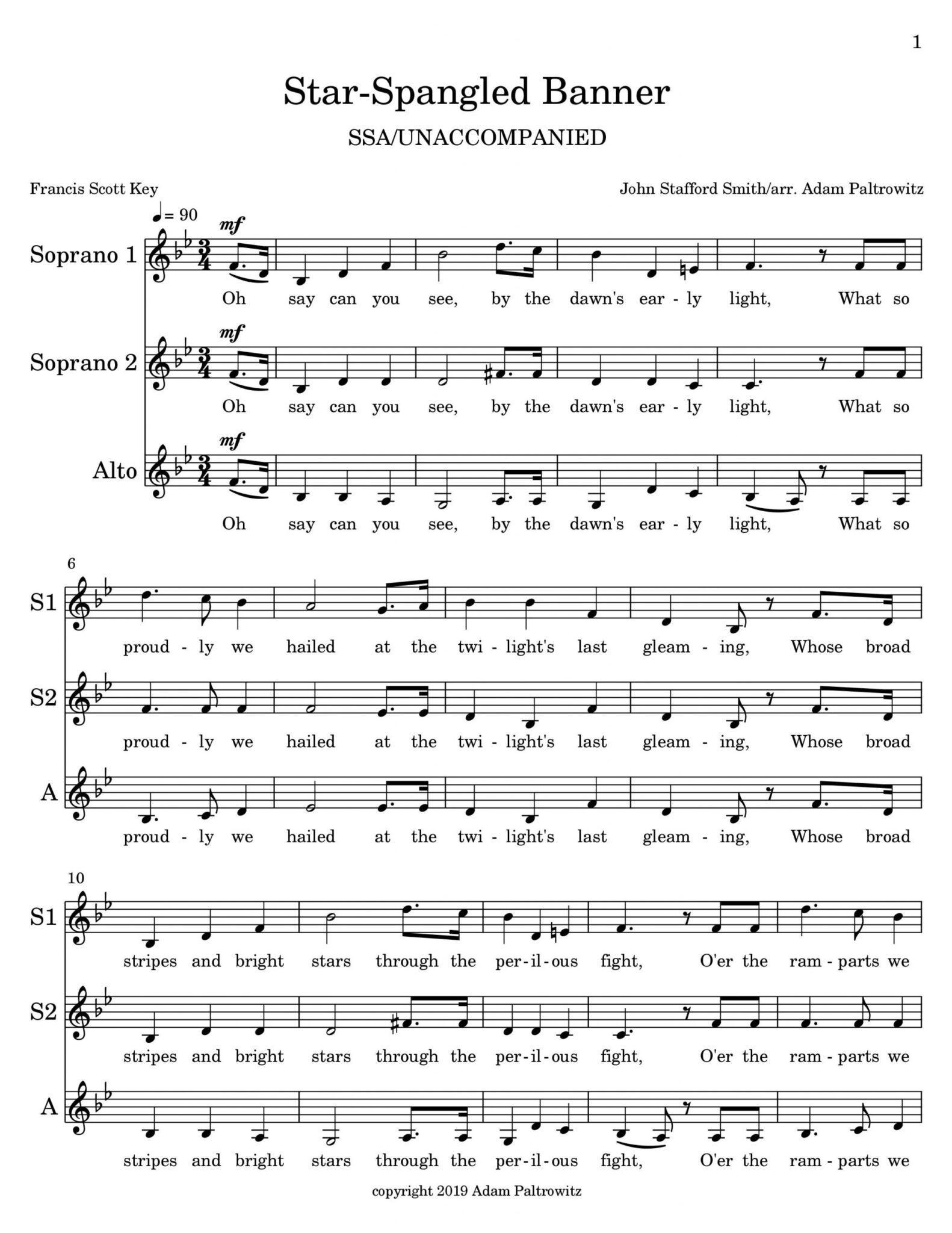 Star-Spangled Banner (SSA - Unaccompanied) - Choral Clarity